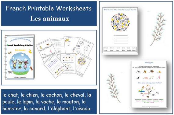 french printables worksheets for teacher animal vocabulary. Black Bedroom Furniture Sets. Home Design Ideas