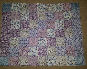 Purple and blue floral Patchwork blanket