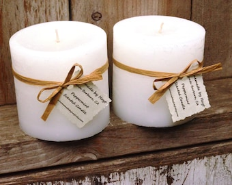 "SALE: Pair of Peppermint Scented 4"" x 4"" Cylinder Candles"