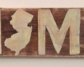 Handpainted New Jersey Home Sign, Wood, 24x7