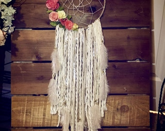 Large Vintage dream catcher with flowers, shabby chic, nursery decor,  off white dream catcher, boho dreamcatcher, pink coral dreamcatchers,