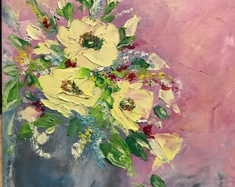 Palette knife,Oil painting ,Flowers painting ,Floral,Wall Decor