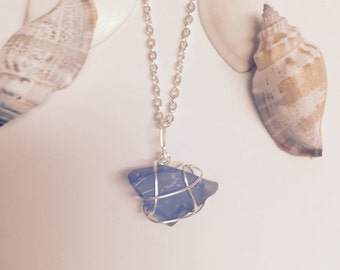 Hawaii Sea Glass Blue Silver Wire Wrapped Necklace