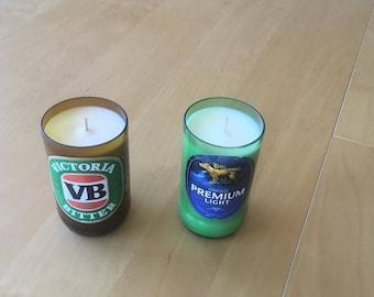 Australian beer bottle soy candles