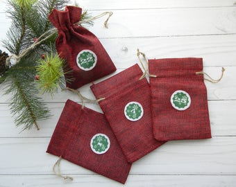 Red Advent calendar bags Burlap Advent Calendar Kit Advent countdown Christmas Countdown Jute gift bags for kids  Rustic Christmas Decor