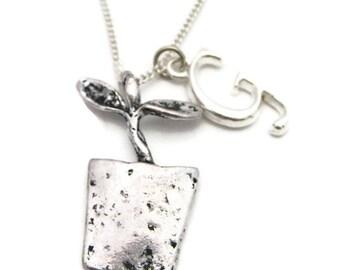 Garden Necklace, Initial Necklace, Personalized Gardener Necklace, Sprout Jewelry, Sprout Necklace Potted Plant Necklace New Parent Necklace