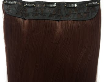 One Piece Clip in Dark Auburn 5 clips 22inches long  Hair Extensions synthetic fiber straight