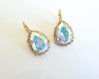 Swarovski AB and Gold Teardrop Leverback Earrings-Swarovski Crystal AB Pear Earrings-AB Leverback Earrings-Swarovski Teardrop Earrings-- 721