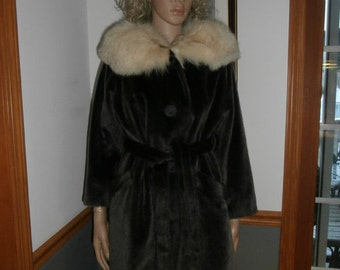Womens Winter Coat-Fox Fur Collar~ Faux Fur Brazotta  Ladies Coat Style  by Fairmoor