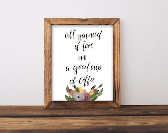 Hand Lettered Wedding Decor, Wedding Shower Decor, Hand Lettered Coffee Bar Sign, All You Need is Love and Coffee, Coffee Bar Sign
