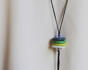 Bohemian long necklace clay stone