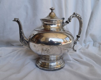 Vintage Sheridan Silver on Copper Teapot, 1948, Silver Teapot, Silver, Coffee Pot, Shabby Chic, Art Nouveau, Collectibles, Collectables