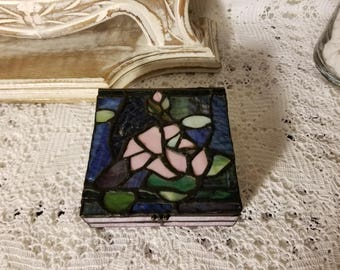 Stained glass floral trinket box