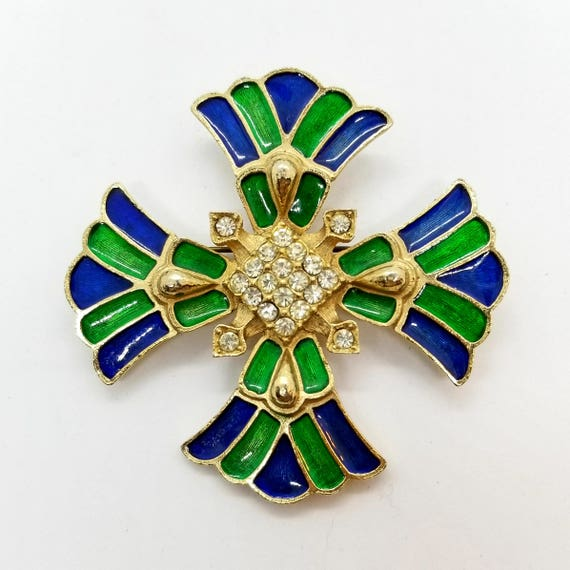 Vintage Weiss Enameled Blue and Green Maltese Cross Brooch