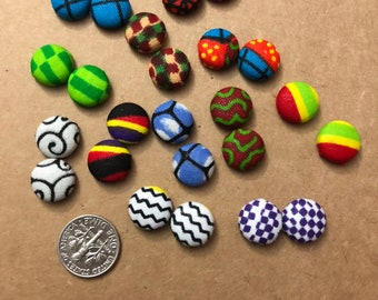 Fabric Cover Button Earrings, Stud Earrings, African Print, Size 20 (small), unique gift ideas, statement jewelry,summer style, colorful