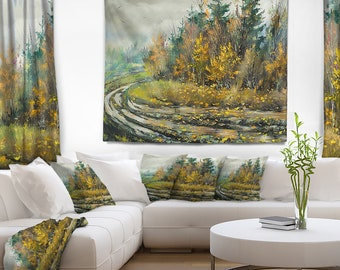 Designart River on a Decline Landscape Wall Tapestry, Wall Art Fit for Wall Hanging, Dorm, Home Decor