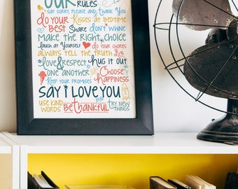 Family Rules {8.5 x 11 Art Printable}