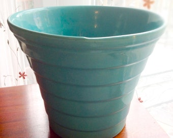 Vintage Turquoise Bauer Pot, Step Pot, No 8 Mid Century Decor, Ring Ware
