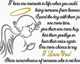 There are moments in life when you could bring someone from heaven. Angel Embroidery Design