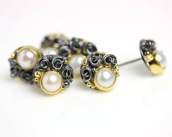 Pearl Post Earrings with French Knots and Gold Dots