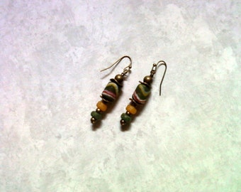Green, Yellow, Red and White Ethnic Earrings (1718)