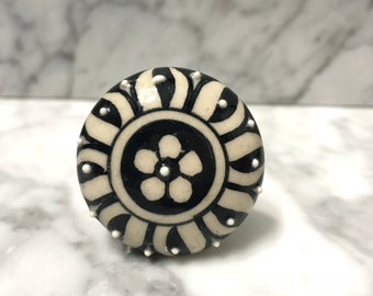 Knobs, Decorative Floral Pull Knob, Hand Painted Black & White Ceramic Dresser Drawer Pulls,Cabinet Supplies, Item #537813073
