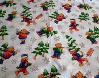 Christmas Fabric, Snowflake Teddy Fabric, Bear fabric, Christmas Teddy bear Fabric by the yard