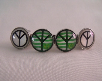 CLEARANCE barrette hair clip 4 cabochons 20mm glass peace sign
