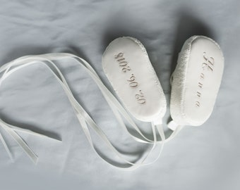 A special embroidery for christening shoes