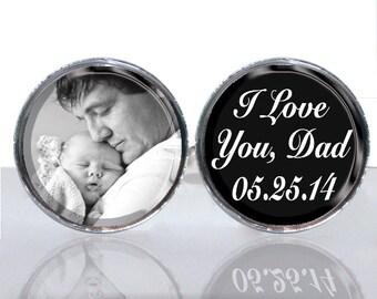 Round Glass Tile Cuff Links - Personalized Photo Birthdate CIR144