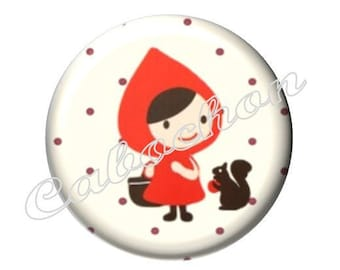 1 cabochon 30mm glass, fairy tale Red Riding Hood