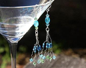 Statement Jewelry Computer Earrings Wearable Tech RESISTOR Chandelier Earrings Frosted Beach Glass Beads Green Blue Crystals