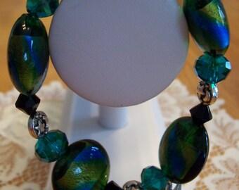 "Green-Gold Lentil Lampwork Glass Czech Crystal 8"" Bracelet"