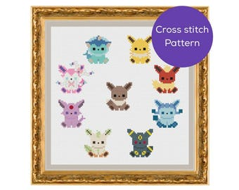 Eeveelution Cross Stitch Pattern
