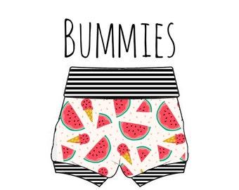 PREORDER watermelon bummies, watermelon diaper cover, baby fruit shorts, kiwi baby shorts, fruit print shorties, baby bummies, fruit bummies