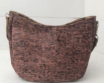 Cork Bag/Hobo Bag/Crossbody Bag/Purse/Pouch with Adjustable Strap- Dark Pink Straw Cork
