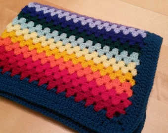 Rainbow baby blanket crochet granny stripe blanket, baby blanket, afghan. Size 20 x 25 inches