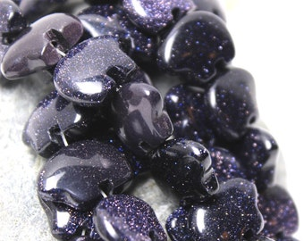 Six RARE Blue Goldstone Zuni Style Bear Fetish Beads Sparkling Indigo Black Ink Glass Glitter Southwestern Desert Totem Animal Woodland