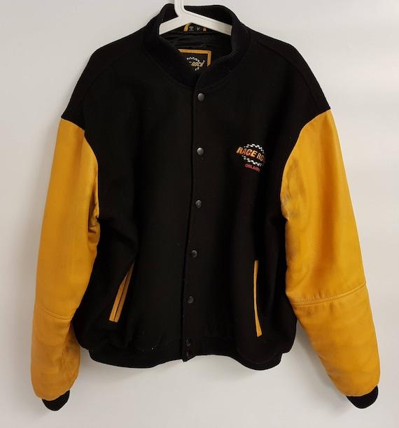 Vintage Men Bomber Jacket Orlando Racing Leather Sleeves size M RARE USA ErHR13I
