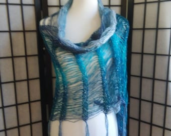 Shawl, Wrap, Scarf with fringe in Healing Teal.