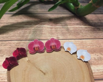 Orchid Earrings, White Orchid, Dark Pink Orchid Natural Earrings Miniature Gift for Flower lovers, Orchid Lovers Stud Gift for Her, Birthday