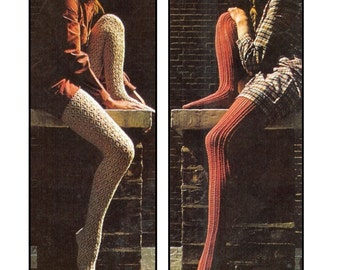 Lace Stockings - 2 styles to knit in DK 8 ply yarn  - PDF of a Vintage Knitting pattern - Instant Download