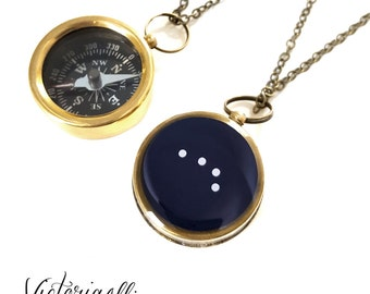 Aries Constellation Necklace, Zodiac Jewelry, Small Working Compass, Brass, Pocket Compass, Bridal Party, March April Birthday Gift