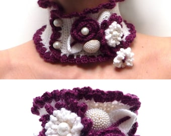 Crochet Cowl Neck Scarf, Neckwarmer, Collar - White and Plum Purple Wool Choker Necklace with Flowers and Leaves - Birthday Gift