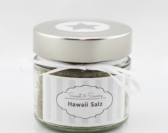 Hawaii green coarse salt, 175 g, gourmet salt, ideal as a gift for grilling, cooking, Easter, Christmas for him and her