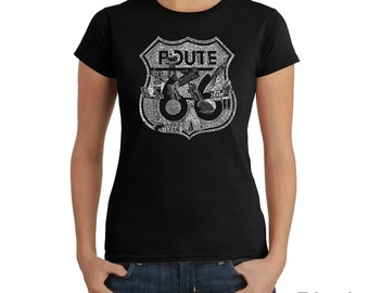 Women's T-shirt - Popular Roadside Attractions & Stops Stops Along Route 66