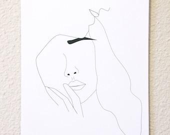 Minimalist portrait, Woman line drawing, Black and white art, Black and white line drawing
