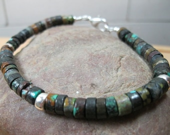 Brown Turquoise, Sterling Silver Bracelet, Turquoise Heishi Bracelet,  Native American Bracelet, Native Bracelt, Mens Turquoise Bracelet