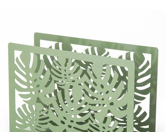 Rectangular metal Leaf magazine rack 30X10X20 cm