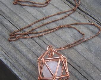 NEW! Geometric Necklace - Icosahedron - Rose Quartz - Love - Copper